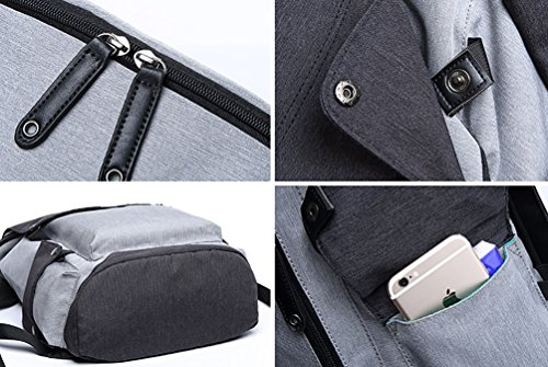 Ghlee Unisex Rucksack USB Changing Port Tasche mit Laptopfach Schulter Rucksack + Brusttasche 2 Stück Grau Grau