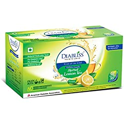 DiaBliss Herbal Diabetic Friendly Herbal Lemon Tea - Low GI - 30 x 10 Grams Sachet Box