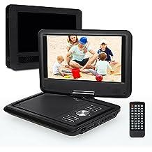 Pumpkin PD0902 - Reproductor de DVD CD MP3 Vídeo Mutimedia Portátil (9 pulgadas, 2600mAh Batería Interna, USB, SD) Con Cargador de Coche y Soporte para Resposacabezas, Negro
