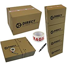 10 Strong Extra and 10 Large Cardboard Storage Packing Boxes Double Walled with Carry Handles Room List Quality Fragile Tape and Black Marker Pen Moving House Kit