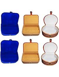 Afrose Combo 2 Pc Earring Box 2 Pc Blue Ear Ring Folder 2 Pc Bangle Box Jewelry Vanity Case