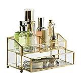Make-Up Etuis Kosmetik-Organisator-Kosmetik-Aufbewahrungsbehälter-Lippenstift-Aufbewahrungsbehälter-Acrylmultifunktionsregal-Tischplattenspeicher (Color : Clear -Gold, Size : 21*12*12cm)
