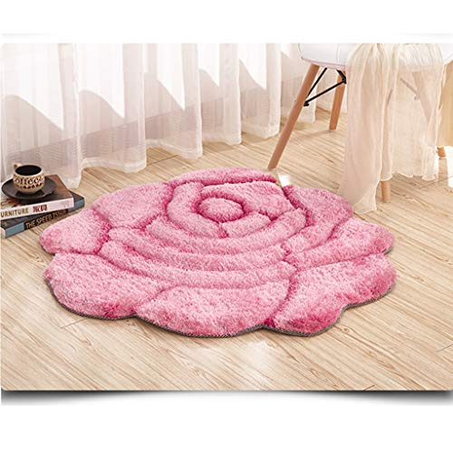 Freude Teppiche Rose (YUER Einfache Moderne 3D-Rosen, Hochzeit Wohnzimmer Teppich Schlafzimmer Nachttisch, in die Veranda Decke Super Seidenblume Orange Einzelblume 0,9 * 0,9 m (Color : Pink))