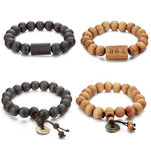 Holz Perlen Armband für Herren Damen Armbänder Buddha Elastik (Chinesische Armbänder)