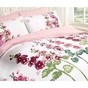 Motif roses trémière Parure de lit en polycoton Couleur :  rose, Taille :  Double