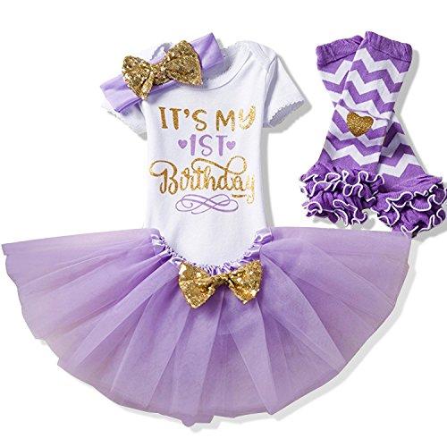 NNJXD Fille Nouveau-né C'est Mon 1er Anniversaire 4 Pcs Tenues Barboteuse + Jupe + Bandeau (+ guêtres) Taille(1) Violet pour Les Filles de 1 Ans