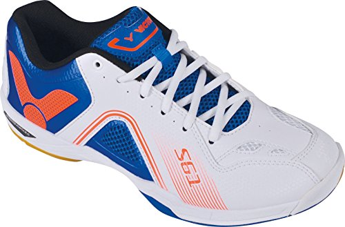 VICTOR SH-S61 Badmintonschuh / Indoor Sportschuh / Squashschuh / Hallenschuh, weiß/blau - Gr. 42