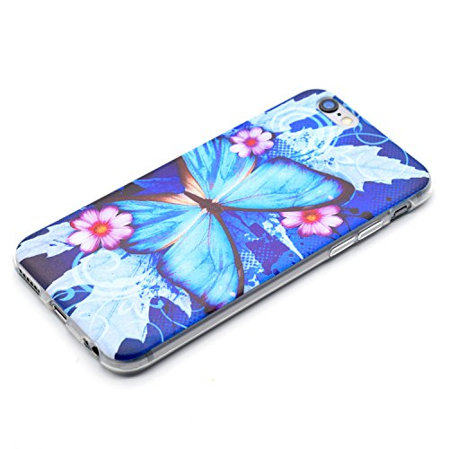 iPhone 7 Hülle,iPhone 7 Schutzhülle Defender Bumper,Ekakashop Ultra dünn Slim Bunte Sonnenblume Muster Modisch Durchsichtig Transparent Weiche Silikon TPU Crystal Gel Case Protective Handyhülle Tasche Blauer Schmetterling