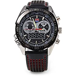 Leopard Shop TVG KM - 568 Male Digital Wristwatch Dual Movt Quartz Watch Luminous Pointer Multifunctional LED 50m Water Resistance Red