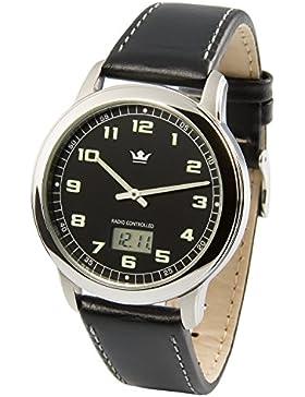 Elegante MARQUIS Herren Funkuhr (Junghans-Uhrwerk) Edelstahlgehäuse, Armband aus echtem Leder 964.4903