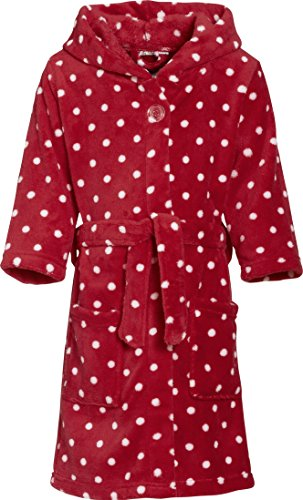 Playshoes Mädchen Bademantel Fleece Punkte, Rot (original 900), 74 (74/80)