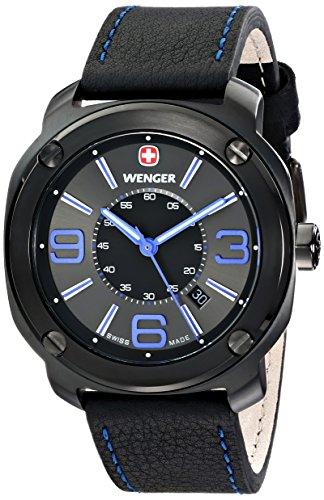 wenger 011051105 Montre bracelet Homme, Cuir, couleur: noir
