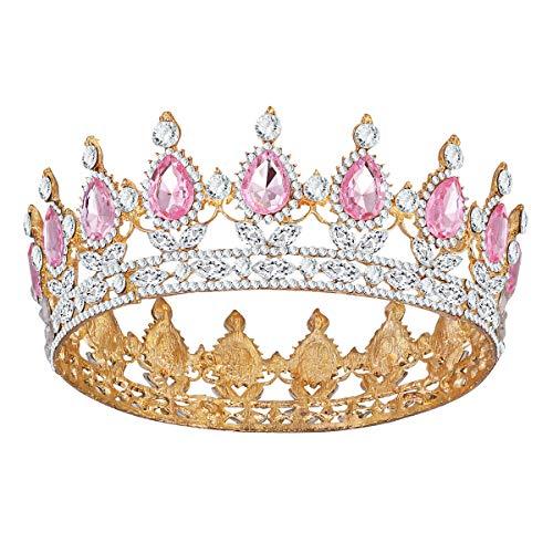 Frcolor Vintage Tiara Krone, Kristall Strass Festzug Königin Krone Tiara Haarschmuck