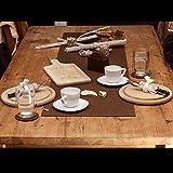 lana naturalis, esclusivo ed elegante runner da tavolo, di dimensioni XXL, in morbido feltro e in meravigliosi colori, resistente e lavabile marrone