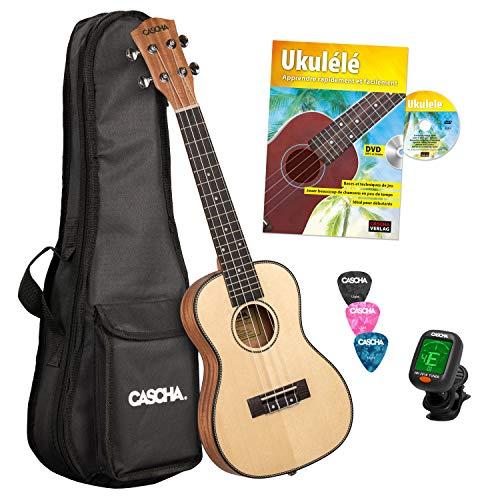 CASCHA Ukulele concerto professionale, tavolo in abete massiccio, kit per principianti, ukulele con accessori, corde Aquila, libro dell'ukulele, borsa imbottita, accordatore e 3 plettri
