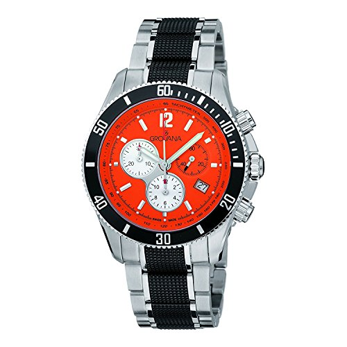 Grovana 1615.9179 uomo Swiss orologio al quarzo con quadrante cronografo Orange