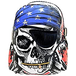 Amily Mochila de Viaje Skull con Patrón de Esqueleto Pirata Estilo Punk