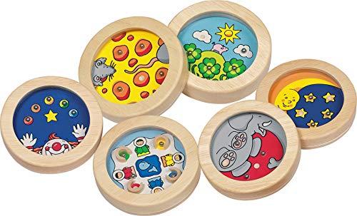 cama24com Geduldspiele Holz Kugel-Puzzle 6 Stück Mitgebsel Kindergeburtstag mit Palandi® Sticker