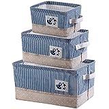 IHOMAGIC Faltbare Wäschesack Aufbewahrungsbox aus Leinen Aufbewahrungskorb mit Griffen Leinen Stoff Faltbare Korb Würfel Organizer Boxen Container Schubladen mit Deckel und Griffe für Büro Schlafzimme
