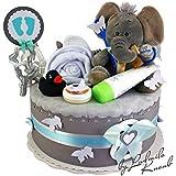 Gâteau gâteau/Pampers Couches > > cadeau pour bébé garçon dans un beau Gris Argile//Cadeau de naissance, baptême, baby party//Cadeau Original et Pratique Pour Bébé