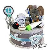 Windeltorte / Pamperstorte >> Babygeschenk für Jungen in schönem Grauton // Geschenk zur Geburt, Taufe, Babyparty // originelles und praktisches Geschenk für Babys