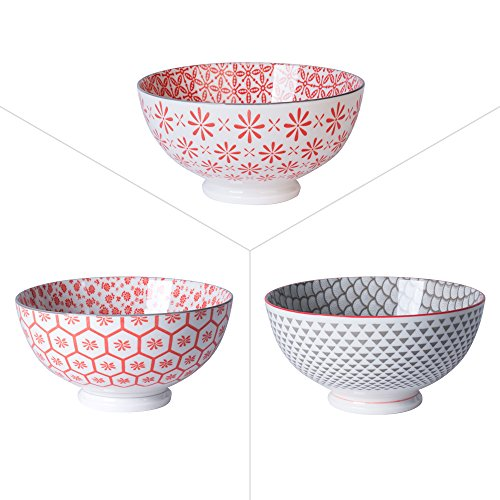 TABLE PASSION - BOL 15CM YUNNAN PORCELAINE ROUGE GRIS ( LOT DE 6 )