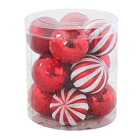 LianLe 12 Stuck Weihnachtskugeln Hanging Christmas Baubles Balls Ornaments Set für Xmas Party Dekoration