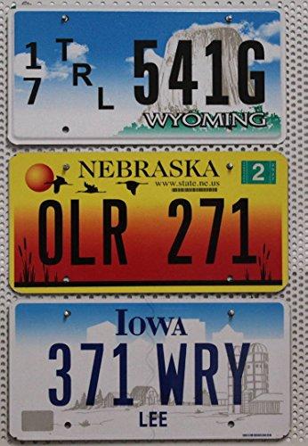 3er SET / LOT # US Staaten Nummernschilder WYOMING + NEBRASKA + IOWA Blechschilder # USA Schilder
