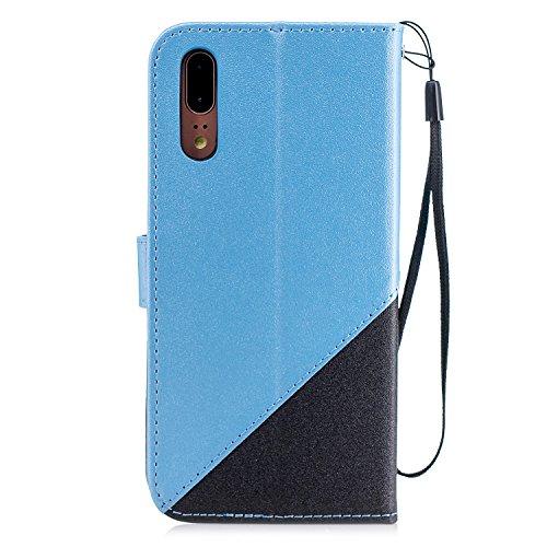 Coque Huawei P20,Etui Huawei P20,Surakey Huawei P20 Cuir PU Housse à Rabat Portefeuille Étui Flip Case Folio à Clapet Stand de Fermeture magnétique, Noir+Bleu Clair