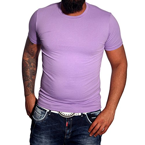 Subliminal Mode - T-shirt Rundhals Herren Bogen Mehrfarbig Mode Ck01 Polo Violett