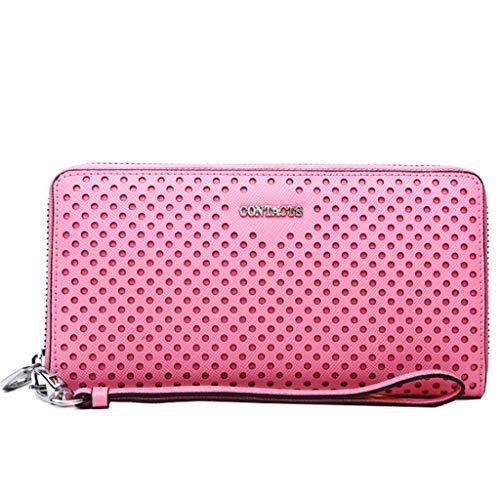 Frauen lange Abschnitt Wallet Hollow Wrist Bag Karte Paket Leder Clutch (Color : Pink, Size : 19 * 2 * 12)