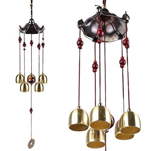 Yizunnu - Campanas de Viento para Interiores y Exteriores, Estilo clásico Vintage Chino, decoración para Colgar 5 Campanas para decoración de Ventanas de jardín