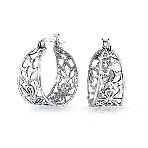 Estilo Boho Bali Abrir filigrana hojas naturaleza amplia ronda Hoop Pendientes para las mujeres Teen 925 Sterling Silver