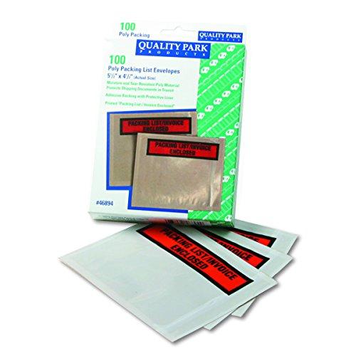 Quality Park 46894 Top-Print Front Selbstklebende Verpackungslisten-Umschläge mit klarem Fenster, 100/Box