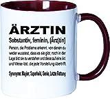 Mister Merchandise Becher Tasse Ärztin Definition Kaffee Kaffeetasse liebevoll Bedruckt Geschenk Gag Job Beruf Arbeit Witzig Spruch Weiß-Bordeaux