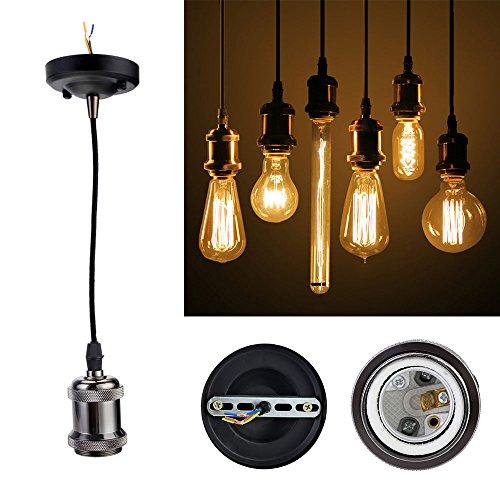 GreenSun LED Lighting Vintage 1 Stück,E27 Lampenfassung Antike Edison Halter Lampe Zubehör mit 1.35 Meter 3-adriges Kabel für Pendelleuchte Hängelampe, R3, keramik, 1er -