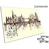 Painterly ciudad de Londres Inglaterra Landmark Spray de pintura Skyline, A1 - PVCEYE