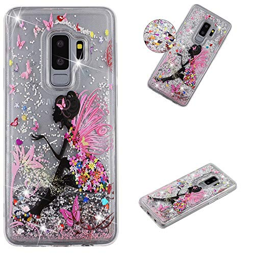 Miagon Flüssig Hülle für Samsung Galaxy S9 Plus,Glitzer Weich Treibsand Handyhülle Glitter Quicksand Silikon TPU Bumper Schutzhülle Case Cover-Schmetterling Mädchen