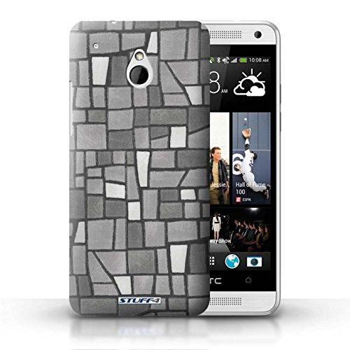 Kobalt® Imprimé Etui / Coque pour HTC One/1 Mini / Gris/Blanc conception / Série Carrelage Mosaïque Gris/Blanc