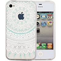 JIAXIUFEN teléfono caso cubrir volver piel protectora Shell Carcasas Funda para iPhone 4 4S - White Mint Tribal Mandala