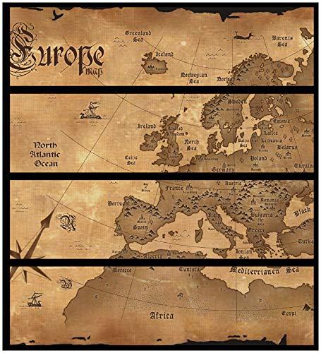 Wallario Möbelfolie/Aufkleber, geeignet für IKEA Malm Kommode - Alte Weltkarte, Karte von Europa in englisch mit 4 Schubfächern