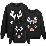 Durcoo Reindeer Christmas Family Matching Sweatshirts Long Sleeve Christmas Top