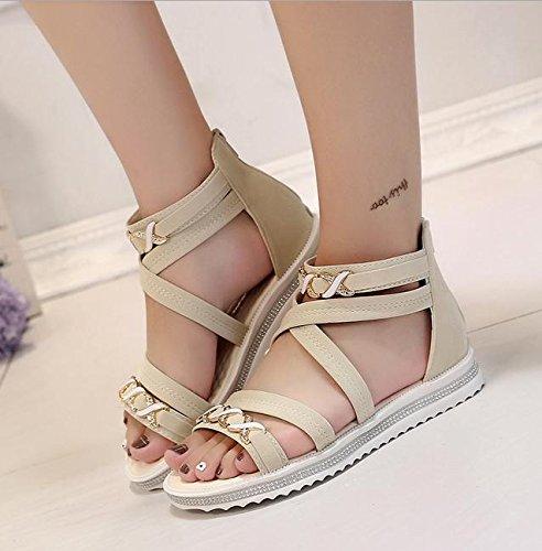 Offene Sandalen weibliche Kreuzgurt flache Schuhe mit flachen Schuhen wilde Schüler Beige