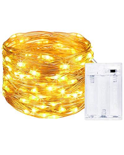 Litogo Guirnalda Luces Pilas, Luces LED Pilas, Luces LED Habitacion 5m 50 LED Luces de Cadena Micro con Pilas de Alambre Guirnaldas Decoracion Cobre para Decoración Interior Bodas Fiesta de Navidad