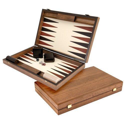 Luxus Creme und Mahagoni Backgammon Set