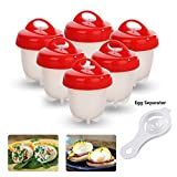 Pocheuse à Oeufs Easy Egg Cooker Coquetier Gel de Silice de Qualité Alimentaire - 6 Pièces (Rouge)