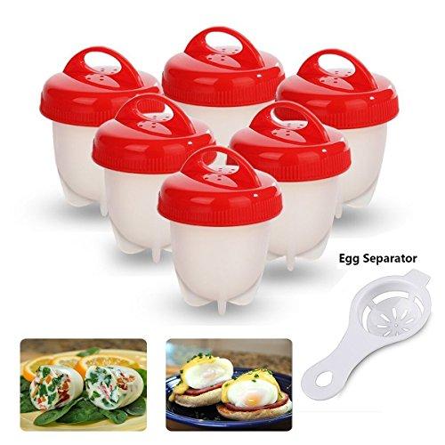 6er Eierkocher Egglettes Egg Cooker, Antihaft-Silikon Eierbecher Hartgekochte Eier ohne Schale (Rot)