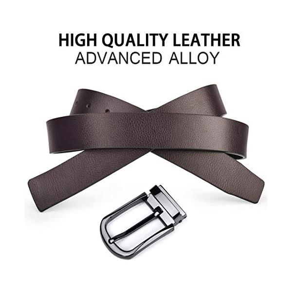 NUBILY Cintura Uomo Pelle Nero Marrone Reversibili Cinture da Uomo Della Di Cuoio Fibbie Cintura Casual Formali Elegante… 3 spesavip