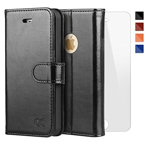 OCASE Cover iPhone 5S [Portafoglio] [pellicola vetro temperato schermo inclusa]Custodia di Pelle Case Flip per iPhone 5 / SE Garanzia a Vita Nero