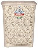 Nayasa Flower Polypropylene Laundry Basket (55 cm x 44 cm x 36 cm, Ivory)